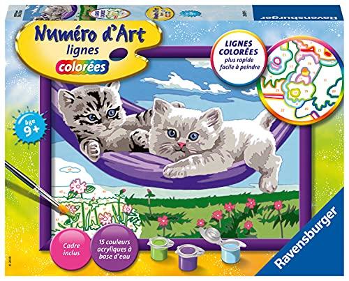 Ravensburger – Numéro d'art moyen format – Chaton dans le hamac – loisir créatif – kit de peinture acrylique – activite détente – enfant dès 9 ans – 28679
