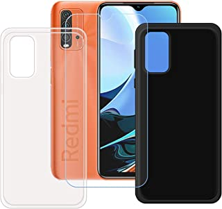 FZZ Case for Redmi 9 Power + Tempered Glass Screen Protector Protective Film,Slim Transparent + Black Soft Gel TPU Silicon...