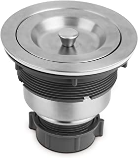 Serene Valley 3-1/2-inch Kitchen Sink Strainer Assembly, 304 Premium Stainless Steel Construction with Removable Deep Waste Basket and Sealing Lid