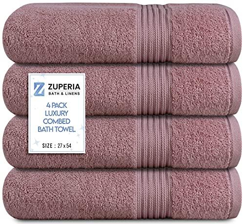 Zuperia - Juego de 4 toallas de baño de 68,5 x 137,1 cm, ultra suaves, 100% algodón peinado, color rosa rosa, muy absorbente, ideal para piscina, hogar, gimnasio, spa, hotel