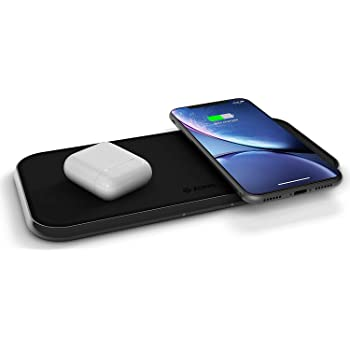 Dual 10-Watt Aluminum Wireless Charging Pad, Qi Certified, Supports Apple and Samsung Fast Charge, Adapter Included, Black