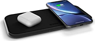 ZENS Dual 10-Watt Aluminum Wireless Charging Pad, Qi Certified, Supports Apple and Samsung Fast Charge, Adapter Included, Black