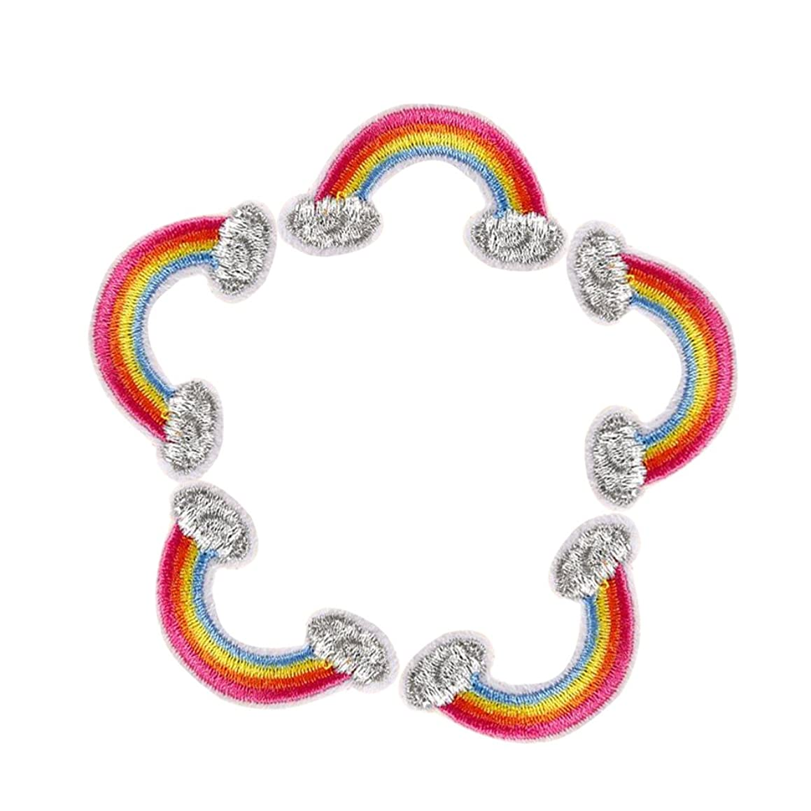"""XUNHUI Embroidered Iron on Patches for Clothes Cute Rainbow Deal with it Clothing DIY Motif Applique 5PCS (1.1""""X 2"""")"""