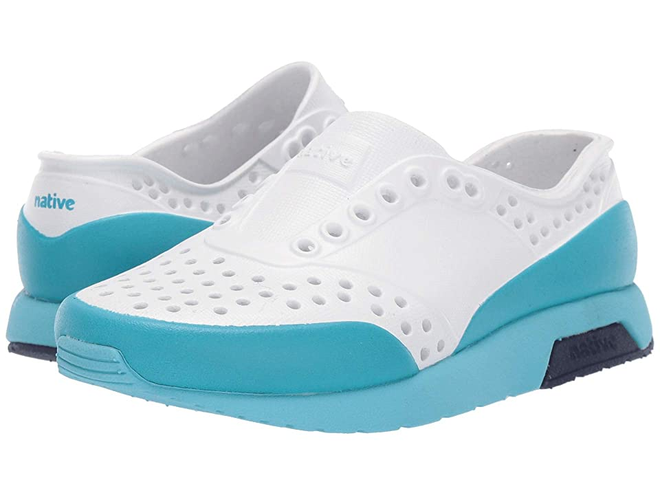 Native Kids Shoes Lennox Color Block (Toddler/Little Kid) (Shell White/Hamachi Blue/Regatta Blue/Ultra Blue Glow Block) Kids Shoes