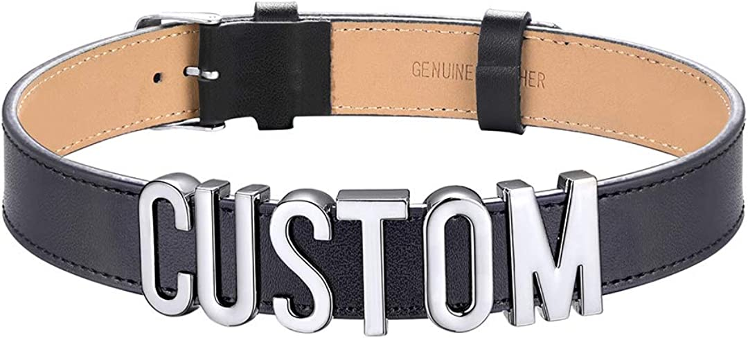 ChainsHouse Customized Choker Collar Necklace for Women Girls Charm/Puddin/CZ Adjustable High Neck Custom Personalized Initials Name Leather Wristband Bracelet, Send Gift Box