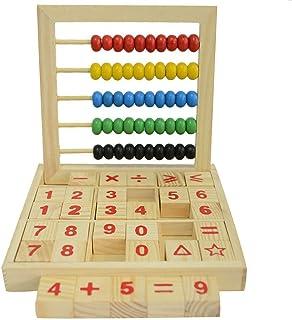 Ábaco de Madera Aprendizaje de los Números, Letras y Símbolos con Cubos y Cuentas