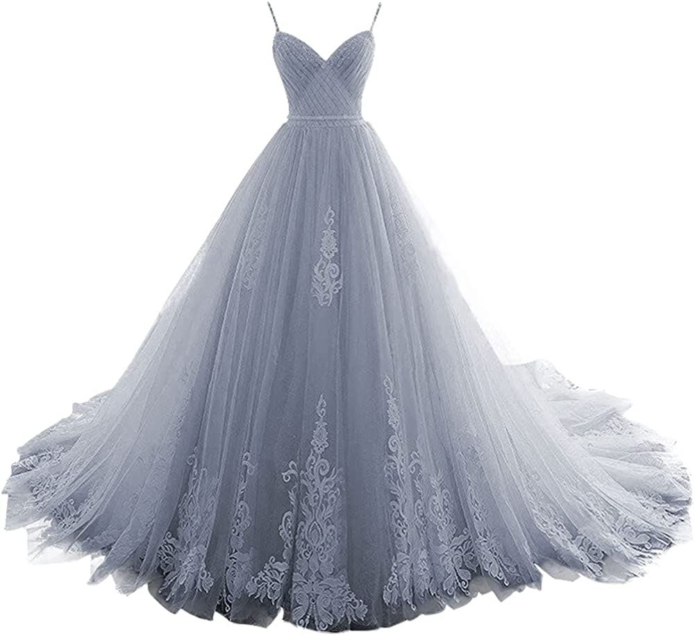 Prom Dress Long Quinceanera Dresses Tulle Formal Evening Gowns Appliques Pleat Prom Dresses V Neck
