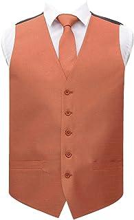 DQT Plain Shantung Wedding Waistcoat Vest & Matching Neck Tie for Men