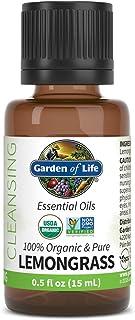 Garden of Life Essential Oil, Lemongrass 0.5 fl oz (15 mL), 100% USDA Organic & Pure, Clean, Undiluted & Non-GMO - for Dif...