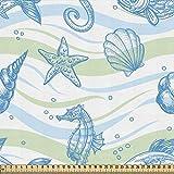 ABAKUHAUS Náutico Tela por Metro, Las Estrellas De Mar Del Océano De Shell, Decorativa para Tapicería y Textiles del Hogar, 1M (148x100cm), Menta Azul