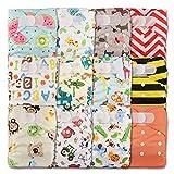 LittleBloom, reutilizable bolsillo pañal de tela, cierre: Velcro, Set de 12, varios patrones diseños 1204 Talla:12 pañales, 1 inserto de bambú cada uno