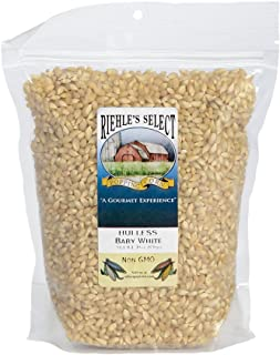 Riehle's Select Popping Corn - Hulless Baby White Old Fashioned Whole Grain Popcorn - (30oz) Resealable Bag - Non GMO, Gluten Free, Microwaveable, Stovetop and Air Popper Friendly