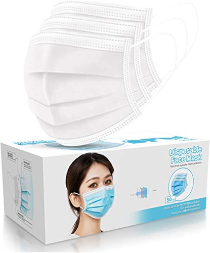 50 PCS White Disposable Face Masks 3-Ply Filter Earloop Mouth Cover, Face Mask (White)