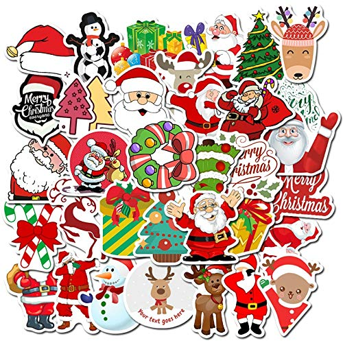 ZZHH 50 Piezas Kawai Coloridas Pegatinas de Navidad Santa muñeco de Nieve árbol de Navidad portátil monopatín Muy Fino Regalo de Año Nuevo Pegatinas