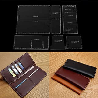 Qlychee Acrylic Template for Business Long Wallet Leather Craft Pattern Stencil