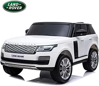 Licensed Land Rover Range Rover HSE Kids Electric Ride on Car with Remote Control, Real 2 Seaters, Bluetooth, Music, LED Lights, Openable Doors, Leather Seats, Four Wheels Spring Suspension - White