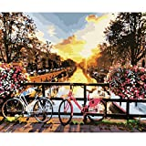 empty Adult and Children Digital Painting DIY Oil Painting Gift Set Pre-Printed Canvas Artist Home Decoration -16 * 20 Inches,1831,with Inner Frame