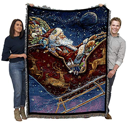Christmas Midnight Ride - Donna Race - Cotton Woven Blanket Throw - Made in The USA (72x54)