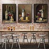 Carteles de frutas de botella de vino tinto vintage y pintura impresa en lienzo Imagen de arte de pared escandinavo Cocina Habitación Decoración de café 30x50cmx3 Sin marco