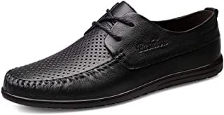 HaiNing Zheng Oxford Shoes for Men Formal Shoes Lace Up Style OX Leather Simple Pure Color (Hollow Optional) (Color : Black Hollow, Size : 8 UK)