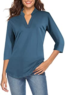 Sponsored Ad - CEASIKERY Women`s 3/4 Sleeve V Neck Tops Casual Tunic Blouse Loose Shirt