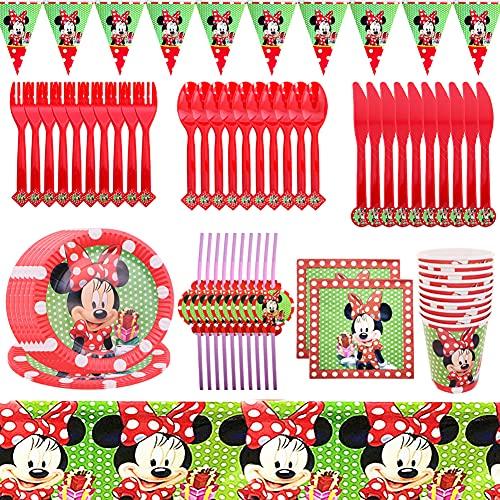 Set de Fiesta de Cumpleaños de Minnie, Vajilla para Fiesta de Cumpleaños Kit Minnie Decoración de Mesa de Cumpleaños Incluye Platos, Tazas, Servilletas, Manteles, Pajitas,Pancartas Party Supplies