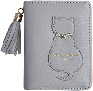 Wallet Purse Short Wallet Coin Purse Card Wallet for Woman Girl (Color : Gray, Size : One Size)