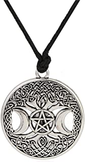 Ztuo Tree of Life Triple Moon Goddess Golden/Silver Necklace Celtic Knot Pentagram Pentacle Star Pendant