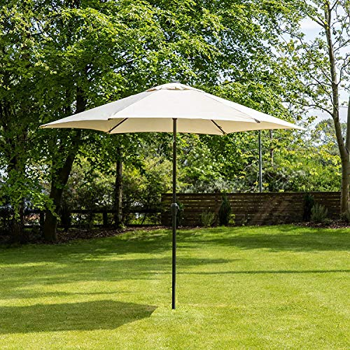 3M Beige Garden Outdoor Parasol Sun Shade Patio Hanging Umbrella Cantilever (Base Included)