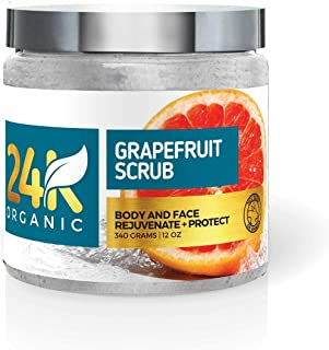 Grapefruit Scrub For Face And Body Deep Cleansing Exfoliator And Brightens Complexion – Clears Acne And Shrinks Pores - By 24k