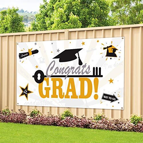 Graduation Party Supplies 2021 Congrats Grad Banner - Black & Gold 2021 Graduation Decorations - Class of 2021 Banner for Graduation Decor (45X78 Inches)