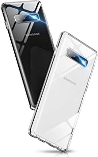 Aunote S10 Plus Case Clear, Ultra Hybrid Galaxy S10 Plus Glass Case, Crystal Transparent PC Back Drop Protective Cover for Galaxy S10 Plus (6.4