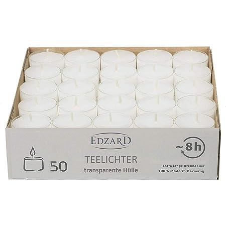 Edzard 50 x Bougies Chauffe-Plat Blanches, étui Transparent, durée de Combustion : Environ 8 Heures