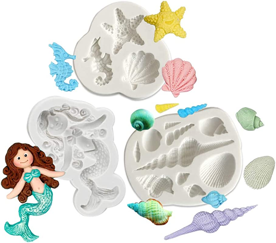 Set Of 3 Underwater World Mermaid Seahorse Starfish Scallop Conch Silicone Fondant Cake Molds Chocolate Making Moulds Baking Tools For Candy Clay Chocolate
