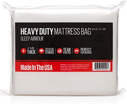 Sleep Armour Mattress Bags : Heavy Duty 4 mil Thick Mattress Bag for Storage/Moving