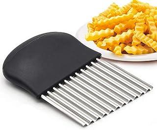 Coupe-frites ondulés multifonction en acier inoxydable pour légumes et oignons Noir