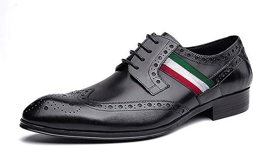 de moda RSHENG zapatos Brogue Derby para hombre, zapatos