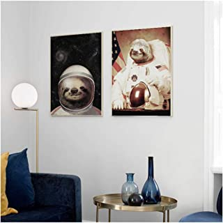 HYFBH Print on Canvas Home Decor Abstract Painting Pictures Sloth Space Astronaut Poster for Living Room Wall Art-50x70cm No Frame