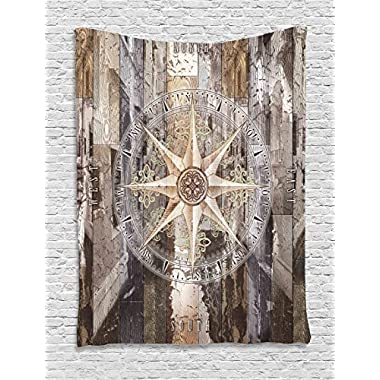 Ambesonne Marine Life Tapestry, Navy Sea Life Yacht Theme Colored Wood Backdrop with Rudder like Compass Image, Wall Hanging for Bedroom Living Room Dorm, 60 W x 80 L Inches, Brown