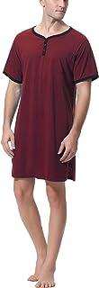 Sykooria Mens Nightshirt Pajama Top Nightwear Lightweight Cotton Soft Nightgown Short Sleeve Long Sleeve Sleepwear for Hom...