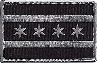 Subdued Chicago Illinois State Flag Shoulder Patch - 2 1/4 inches tall by 3 1/2 inches wide