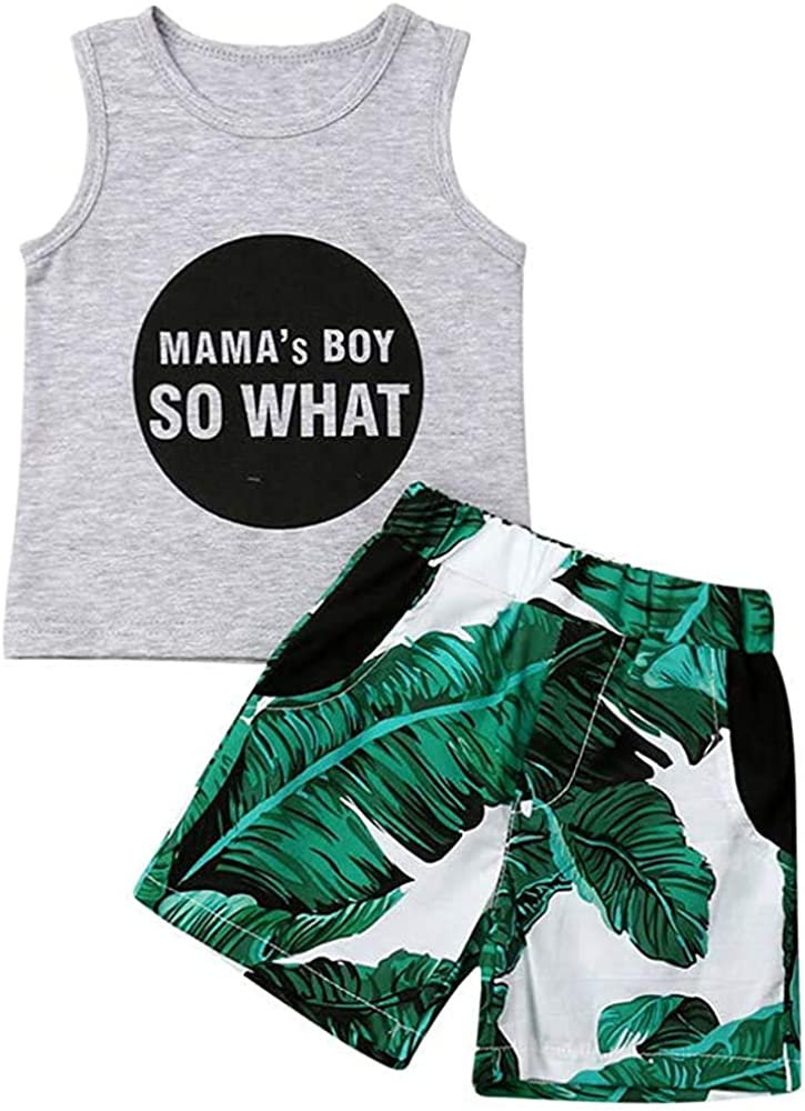 Toddler Selling Baby Boy Beach Shorts Set Gorgeous Tank Letter T Sleeveless Print
