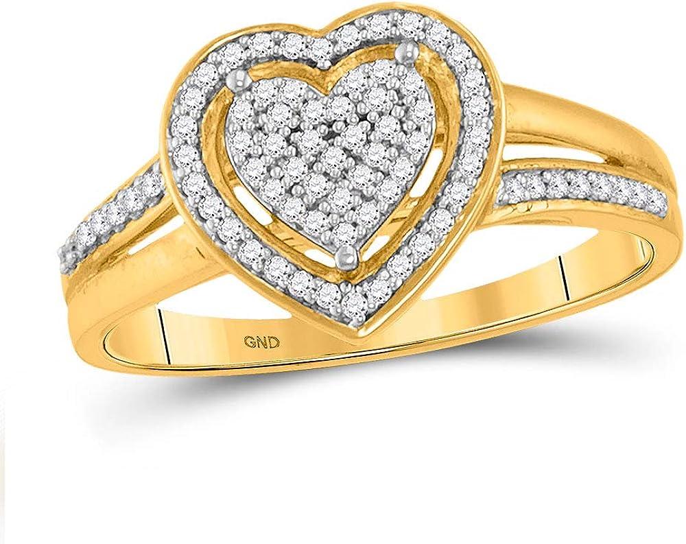 Saris Max 80% OFF and Things 10kt Yellow Gold Diamond Heart Round Washington Mall Womens Rin