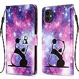 WIWJ Handyhülle für iPhone 11 Hülle, Bunt Muster Premium PU Leder Flip Schutzhülle für iPhone 11 Tasche - Baby Panda