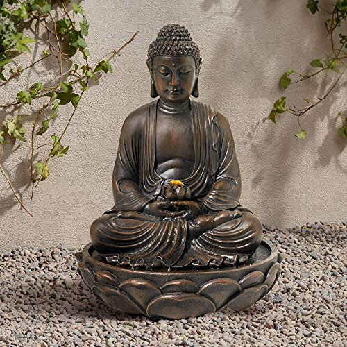 """John Timberland Meditating Asian Zen Buddha Outdoor Water Fountain with Light LED 27 1/2"""" High Seated for Table Desk Yard Garden Patio Home"""