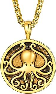قلادة U7 الرجال بانك مجوهرات الفولاذ المقاوم للصدأ مطلية بالذهب كول المحيط الحيوان الأخطبوط وسلسلة