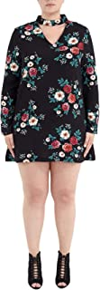 CHOCOLATE PICKLE Womens Plus Size All Over Floral Printed Pebble Choker Neck Skater Dress 16-22