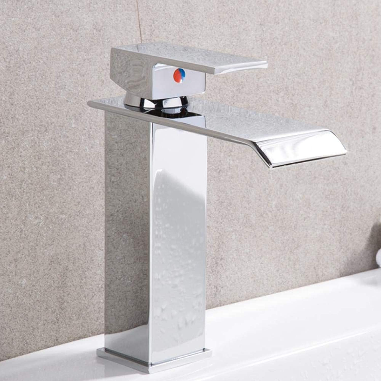 Neue Becken Wasserhahn Bad Waschtischarmaturen Mischer Einlochmontage Messing Wasserhahn Wasserfall Wc Heie und Kalte Mischer Quadratisch Wasserhahn