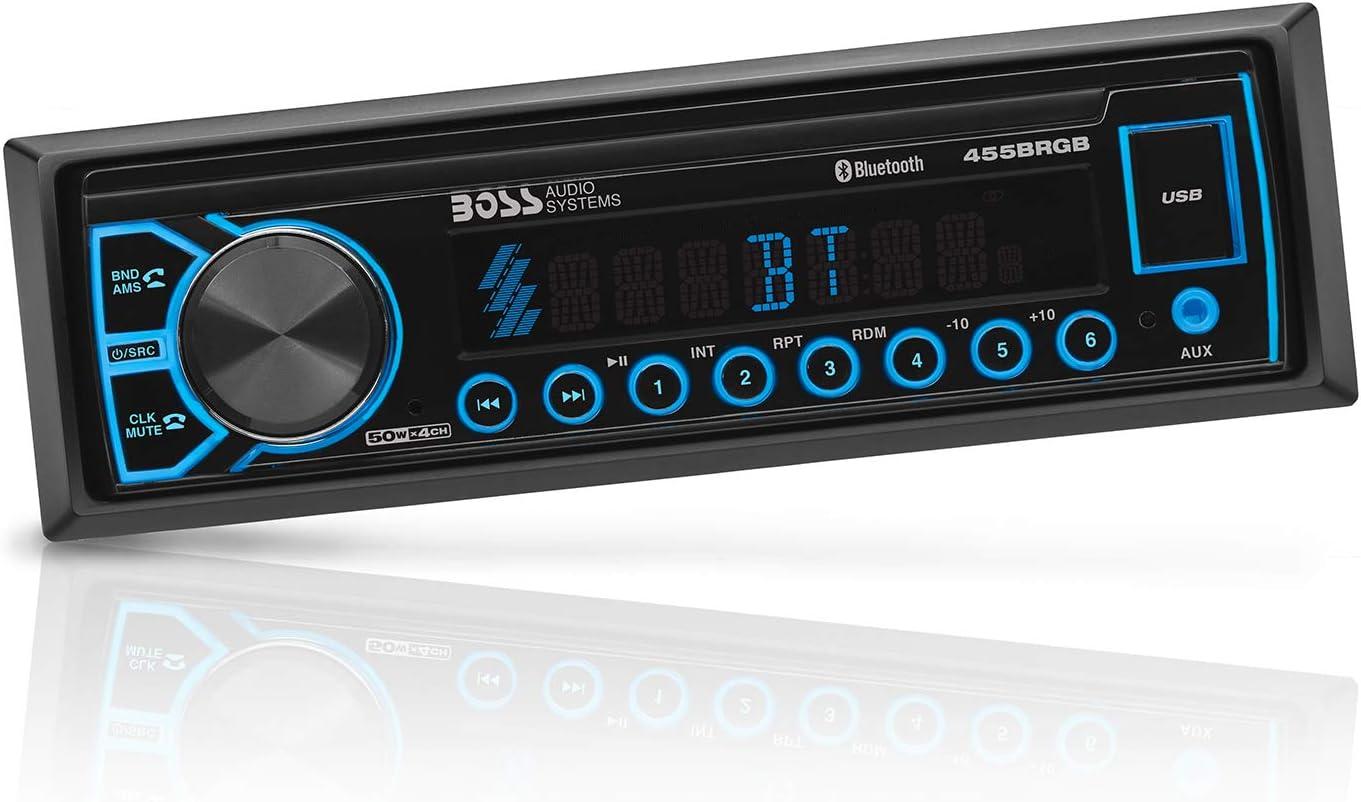 Amazon.com: BOSS Audio Systems 455BRGB Multimedia Car Stereo - Single Din,  Bluetooth Audio and Hands-Free Calling, MP3 Player, USB Port, AUX Input,  AM/FM Radio Receiver, No CD/DVD, Multi Color IlluminationAmazon.com