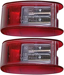 Kum 1053021 Model AS2KM Two Hole Automatic Long Point Pencil Sharpener, Red Plastic Casing, Makes Long Pencil Point in 2 Steps, Automatic Brake Prevents Oversharpening (Pack of 2)